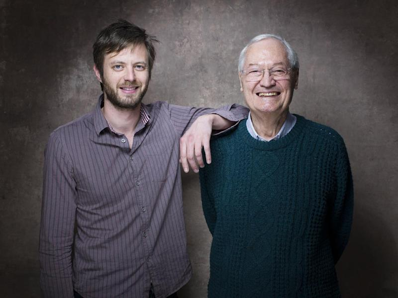 """From left, director G.J. Echternkamp and producer Roger Corman from the film """"Virtually Heroes"""" pose for a portrait during the 2013 Sundance Film Festival on Sunday, Jan. 20, 2013 in Park City, Utah. (Photo by Victoria Will/Invision/AP Images)"""