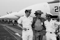 <p>Dennis Hopper, invited by the crew aboard the USS Saratoga aircraft carrier, in 1976.</p>