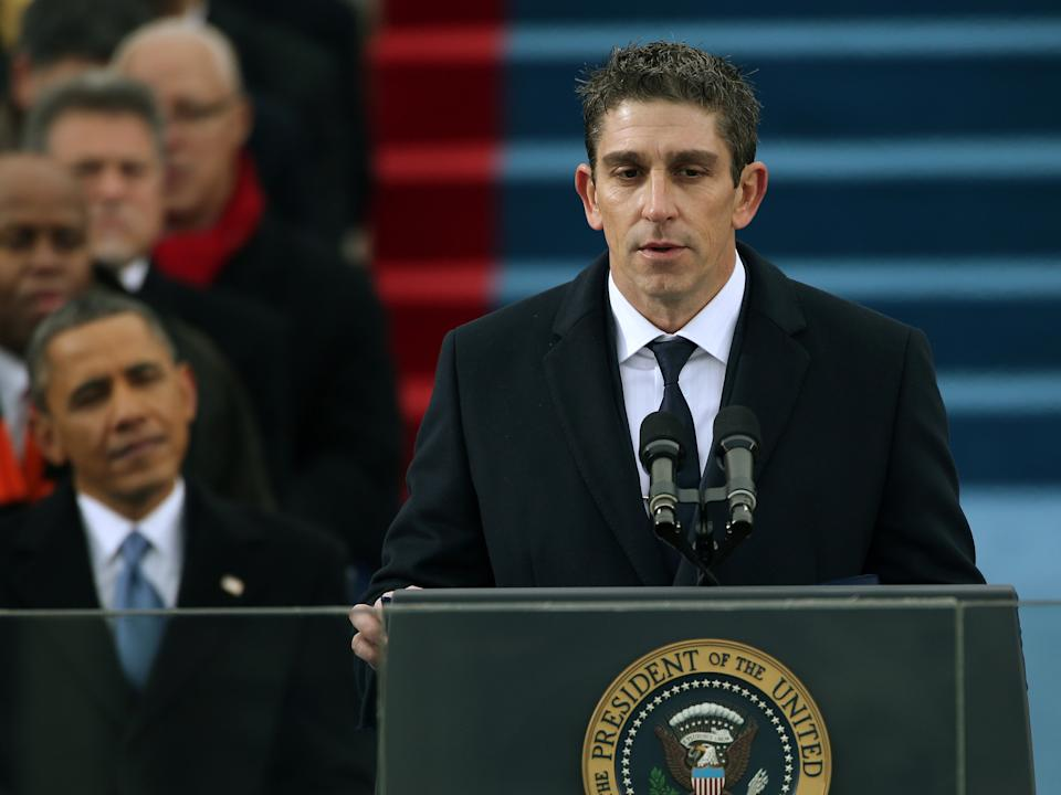 Richard Blanco reads a poem during Barack Obama's second presidential inauguration on 21 January 2013 in Washington, DCJustin Sullivan/Getty Images