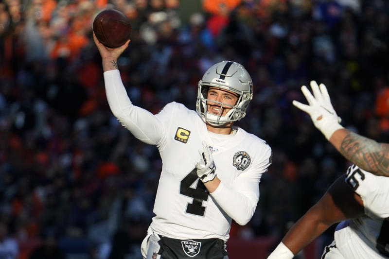 Oakland Raiders quarterback Derek Carr (4) throws a pass during the first half of an NFL football game against the Denver Broncos, Sunday, Dec. 29, 2019, in Denver. (AP Photo/Jack Dempsey)