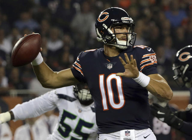Chicago Bears quarterback Mitchell Trubisky (10) throws a pass during the first half of an NFL football game against the Seattle Seahawks Monday, Sept. 17, 2018, in Chicago. (AP)