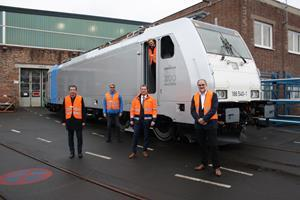 (From left) Mike Niebling, Director Sales TRAXX locomotives, Bombardier Transportation, Jörg Wurdinger, Head of Portfolio Railpool, Bombardier Transportation, Thomas Rendler, General Manager, Site Kassel, Bombardier Transportation, Johannes Kill, Head of Vehicle Projects, Railpool and Klaus Hiller, Head of Projects, Railpool, came together during the handover of the 200th TRAXX locomotive to Railpool at the Bombardier site in Kassel.