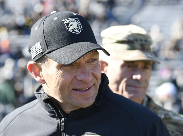 Army head coach Jeff Monken apologized for his team missing the national anthem before the Armed Forces Bowl. (AP Photo)