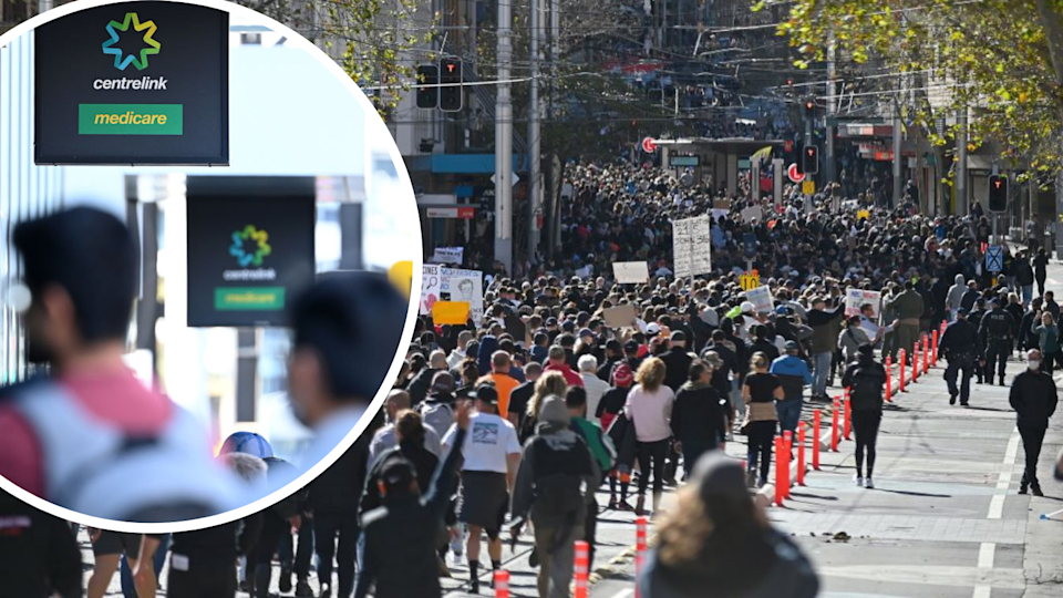 Image of people marching in Sydney anti-lockdown protest; image of Centrelink signage and queue