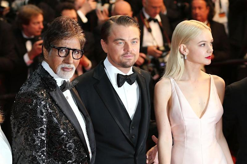 Amitabh Bachchan alongside fellow actors Leonardo DiCaprio and Carey Mulligan at the 2013 Cannes premiere of 'The Great Gatsby': WireImage
