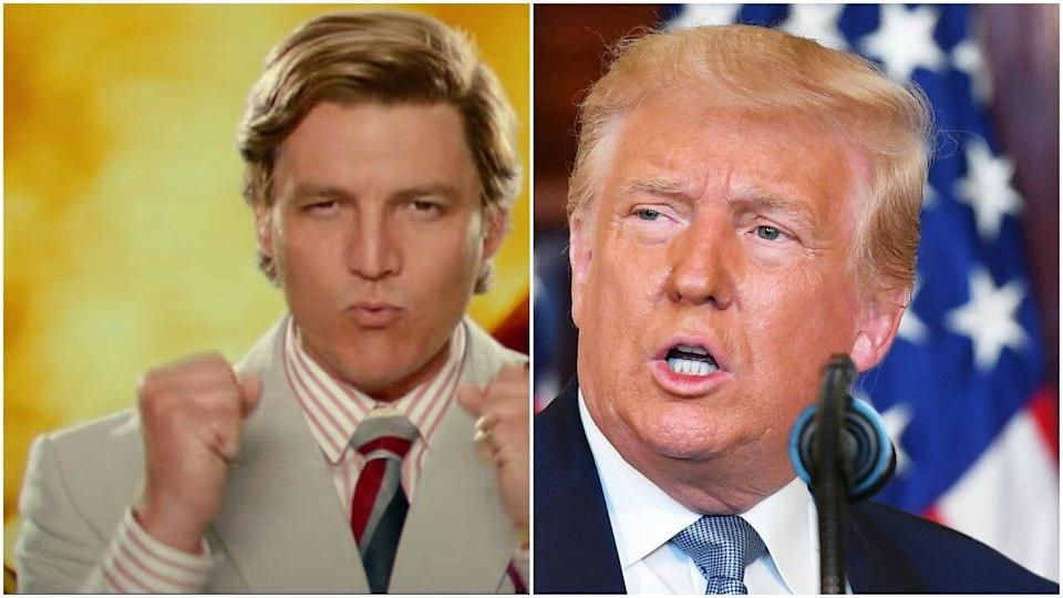 Pedro Pascal vs. Donald Trump: Who wore it better? (Photo: Warner Bros. and MANDEL NGAN/AFP via Getty Images)