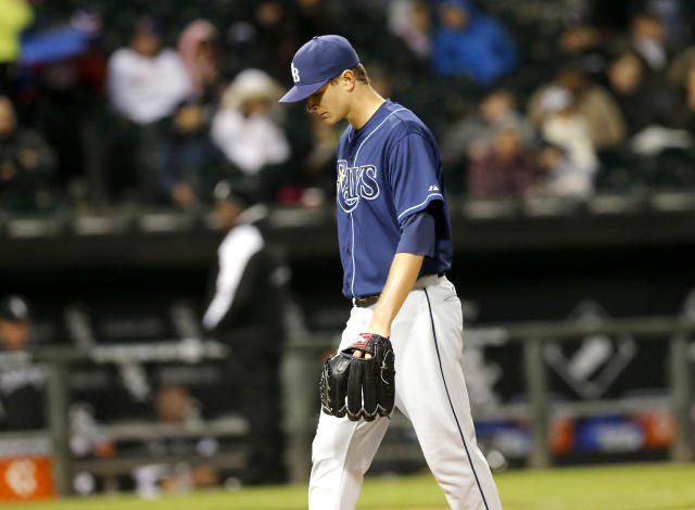 Tampa Bay Rays starting pitcher Jake Odorizzi departs the game during the fifth inning of a baseball game against the Chicago White Sox Monday, April 28, 2014, in Chicago. (AP Photo/Charles Rex Arbogast)