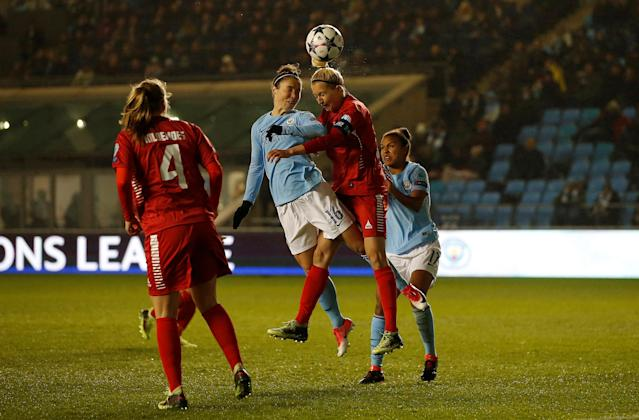 Soccer Football - Women's Champions League Quarter Final First Leg - Manchester City vs Linkoping - Academy Stadium, Manchester, Britain - March 21, 2018 Manchester City's Jane Ross scores her sides second goal Action Images via Reuters/Craig Brough