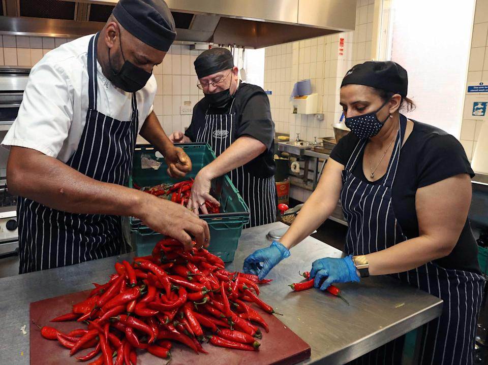 The team at Scottish House, London, where meals for our Help the Hungry campaign are currently prepared (NIGEL HOWARD)