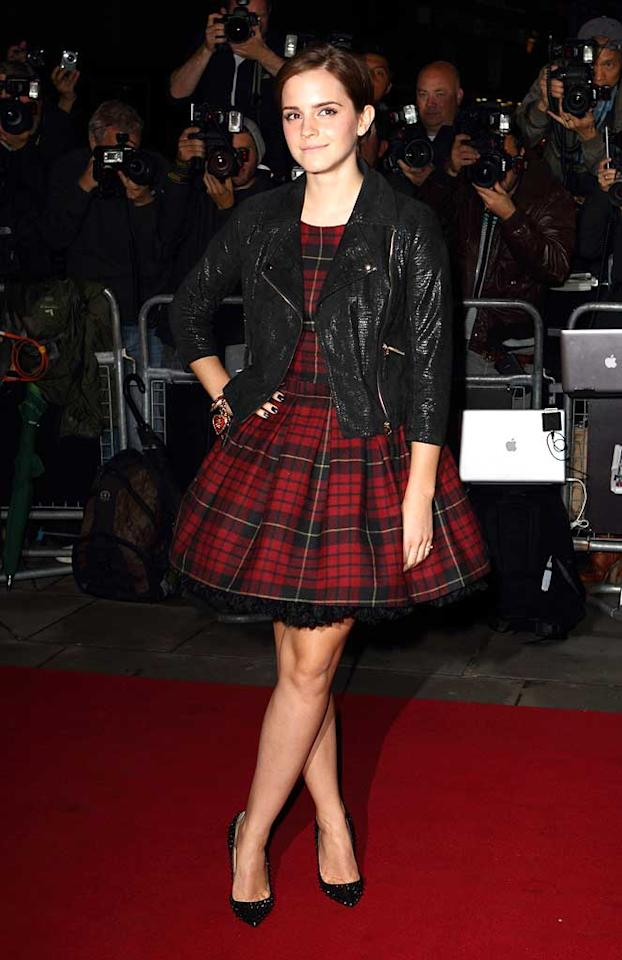 """A plaid-clad Emma Watson showed up in a cute plaid mini to balance out all that testosterone. Mike Marsland/<a href=""""http://www.wireimage.com"""" target=""""new"""">WireImage.com</a> - September 6, 2011"""