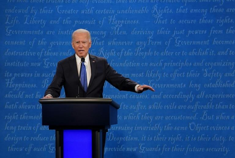 Democratic White House candidate Joe Biden -- trying to hold on to his sizeable lead in the polls -- was keen to keep the debate focused on the Covid-19 pandemic
