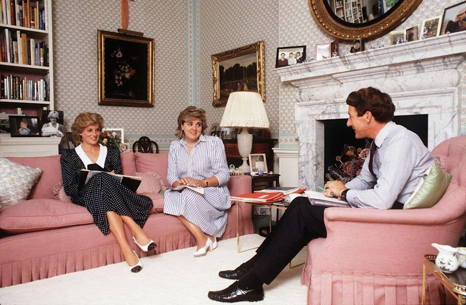 <p>Diana's sitting room doubled as her workspace: from her oh-so-chic dusty pink upholstery, she could be seen drinking tea with a friend at one moment and conducting meetings the next. We can't get enough of that gorgeous fireplace! </p>
