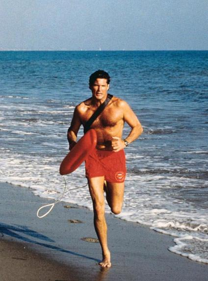 <p>David Hasselhoff made the sexy run across the beach iconic in Baywatch.<br /> Source: Fremantle </p>