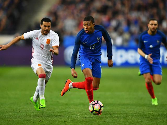 Kylian Mbappe in action for France (Getty)