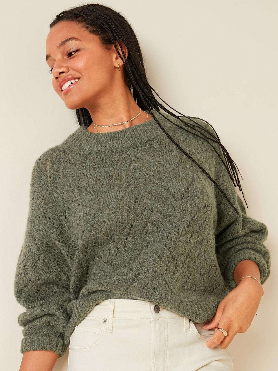 <p>The olive green shade of this <span>Old Navy Cozy Pointelle-Knit Crew-Neck Sweater</span> ($40) is so pretty.</p>