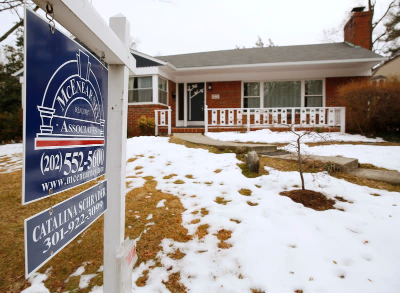 An existing home for sale is seen in Silver Spring Maryland