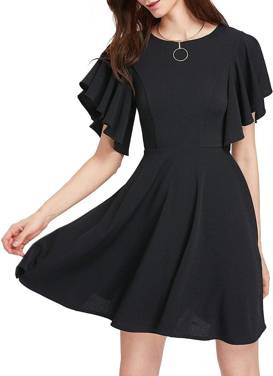<p>How can you resist this <span>Romwe Swing Flared Skater Party Dress</span> ($29)?</p>
