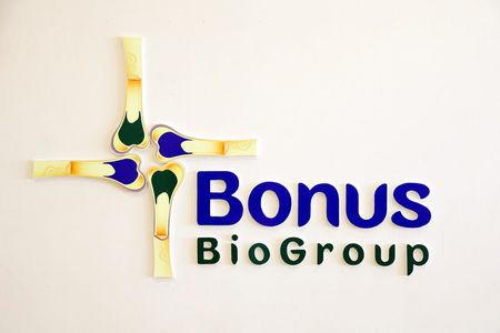 The logo of Israeli biotech firm Bonus Biogroup is seen at their laboratory in Haifa, Israel