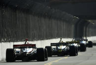 Indycar drivers race down Seaside Way during the final practice session for the Grand Prix of Long Beach auto race Saturday, Sept. 25, 2021, in Long Beach, Calif. (Will Lester/The Orange County Register via AP)
