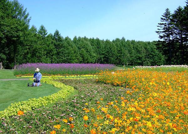 Immaculately kept flowerbeds maintained throughout the year, their colors changing with the seasons