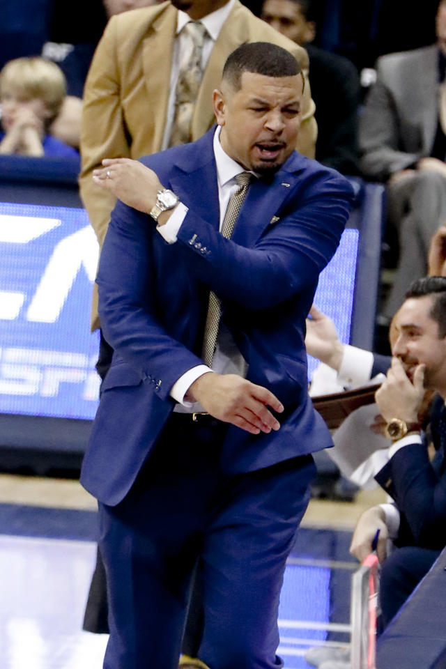 Pittsburgh head coach Jeff Capel reacts after a foul was called on his team during the first half of an NCAA college basketball game against Duke, Tuesday, Jan. 22, 2019, in Pittsburgh. (AP Photo/Keith Srakocic)