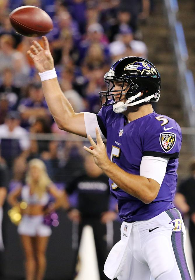 BALTIMORE, MD - AUGUST 15: Quarterback Joe Flacco #5 of the Baltimore Ravens throws a pass during the first half of a preseason game against the Atlanta Falcons at M&T Bank Stadium on August 15, 2013 in Baltimore, Maryland. (Photo by Rob Carr/Getty Images)