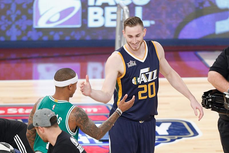 Gordon Hayward #20 of the Utah Jazz reacts with Isaiah Thomas #4 of the Boston Celtics during the 2017 Taco Bell Skills Challenge at Smoothie King Center on February 18, 2017 in New Orleans, Louisiana.