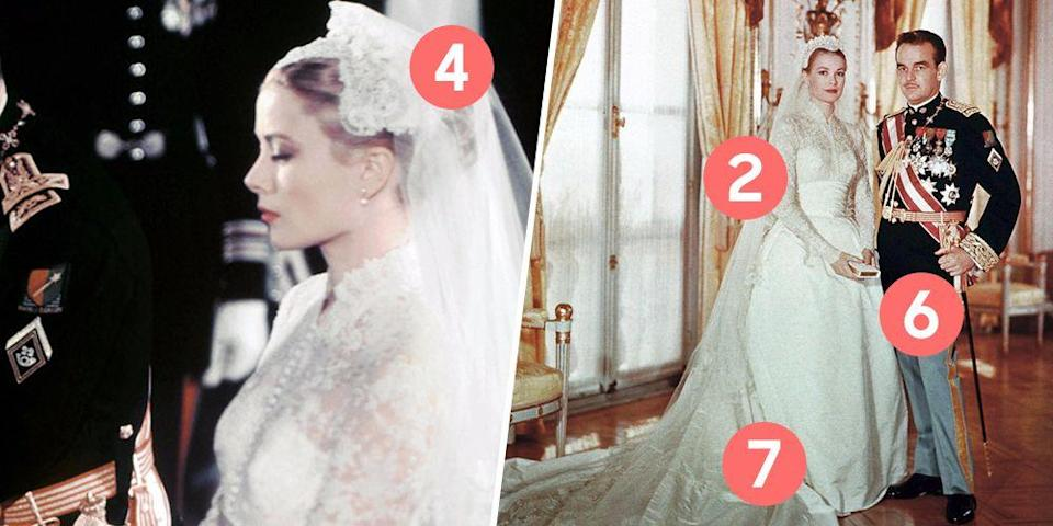 """<p>Decades before the <a href=""""http://www.goodhousekeeping.com/beauty/fashion/g4690/kate-middleton-wedding-dress/"""" rel=""""nofollow noopener"""" target=""""_blank"""" data-ylk=""""slk:Duchess of Cambridge"""" class=""""link rapid-noclick-resp"""">Duchess of Cambridge</a> and <a href=""""http://www.goodhousekeeping.com/beauty/fashion/g4655/princess-diana-wedding-dress/"""" rel=""""nofollow noopener"""" target=""""_blank"""" data-ylk=""""slk:Princess Diana"""" class=""""link rapid-noclick-resp"""">Princess Diana</a> wowed the world with their bridal fashion, American actress Grace Kelly set the standard for royal weddings in her 1956 marriage to Prince Rainer III of Monaco. The Oscar winner became a true princess that day, and she definitely looked the part. </p>"""