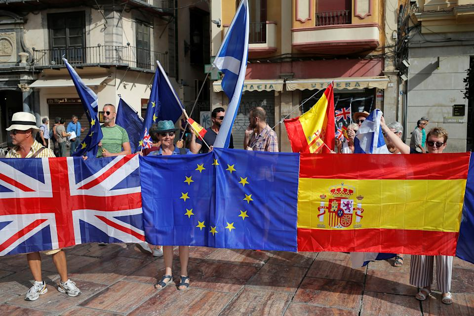 British residents in Spain take part in an anti-Brexit demonstration, in Malaga, Spain September 22, 2019. REUTERS/Jon Nazca