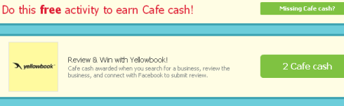 Yellowbook survey gets you free Cafe Cash for Cafe World!