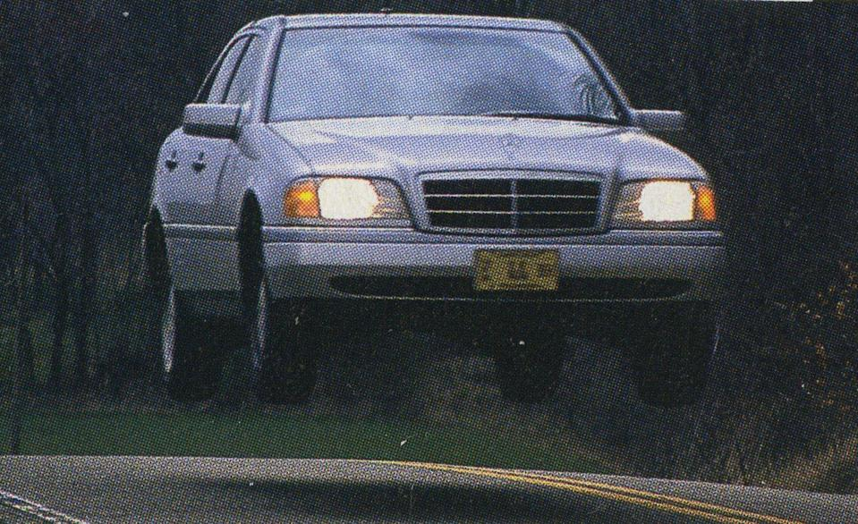 <p>In an otherwise ordinary comparison test of $32,000 entry-luxury sedans (in Ohio, no less), what could possibly add pizazz? A senior staffer taking an early Mercedes-Benz C-class higher than any C-class had ever been—and likely higher than all others will ever go. Seriously, that is a concerning distance between the Benz's tires and the ground.</p>