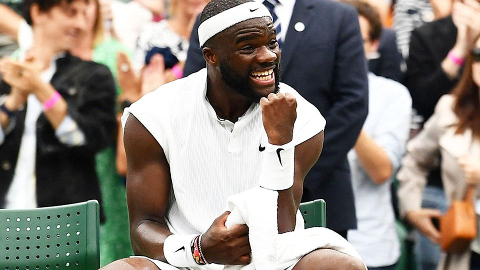 Frances Tiafoe, pictured here celebrating his win over Stefanos Tsitsipas at Wimbledon.
