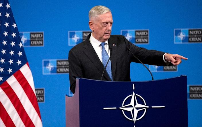 """US Secretary of Defence Jim Mattis warned that coalition forces leaving Syria could create a """"vacuum"""" (AFP Photo/Virginia Mayo)"""