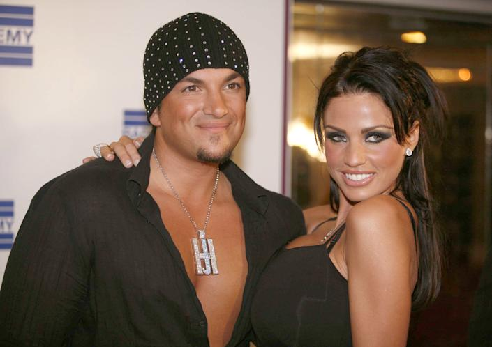 Peter André and Katie Price.  (Photo by Richard Lewis / WireImage)