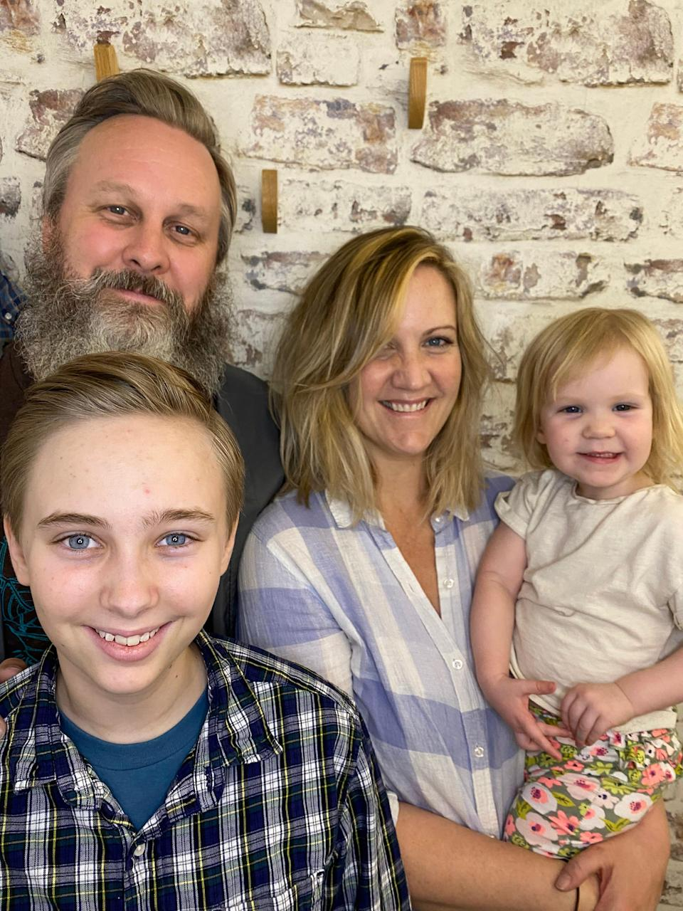 Clockwise from left: Matt Logelin with wife Lizzie Molyneux-Logelin and their daughter Bertie, and Maddy.