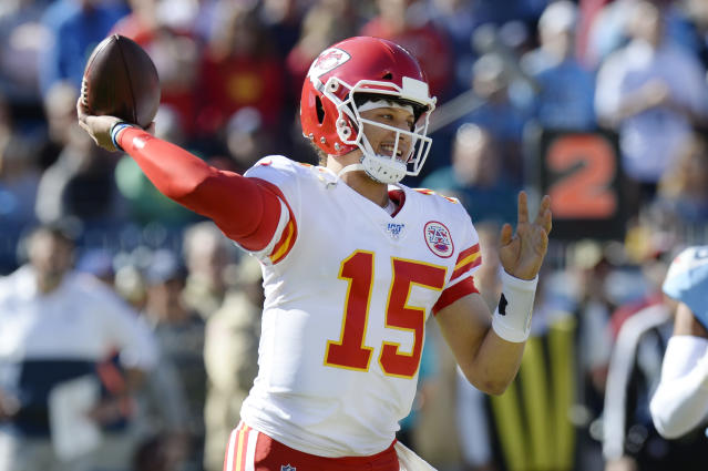 Kansas City Chiefs quarterback Patrick Mahomes passes against the Tennessee Titans in the first half of an NFL football game Sunday, Nov. 10, 2019, in Nashville, Tenn. (AP Photo/Mark Zaleski)