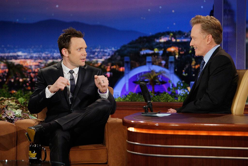 """The Soup"" host Joel McHale impressed Conan with stories of his 4-year-old son brazenly hitting on grown women, including crawling into a bathtub with one. ""I've never had that level of confidence!"" Conan exclaimed. Paul Drinkwater/NBC - June 4, 2009"
