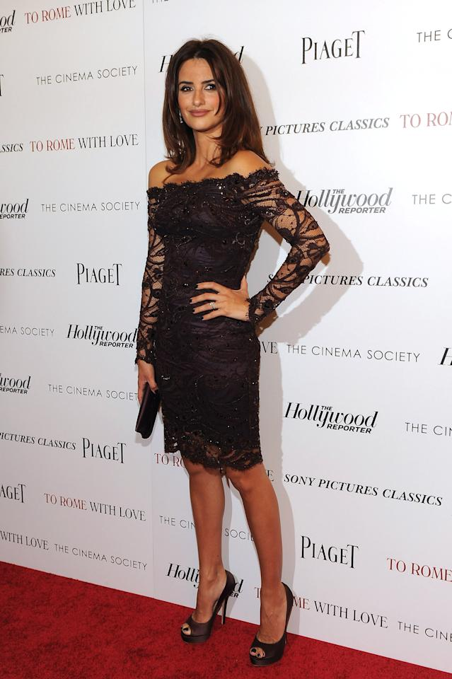 """NEW YORK, NY - JUNE 20:  Actress Penelope Cruz attends the Cinema Society with The Hollywood Reporter & Piaget and Disaronno special screening of """"To Rome With Love"""" at the Paris Theatre on June 20, 2012 in New York City.  (Photo by Larry Busacca/Getty Images)"""