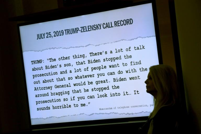 A transcript of a phone call between US President Donald Trump and Ukrainian President Volodymyr Zelensky is shown during the House Permanent Select Committee on Intelligence impeachment inquiry (AFP Photo/Alex Wong)