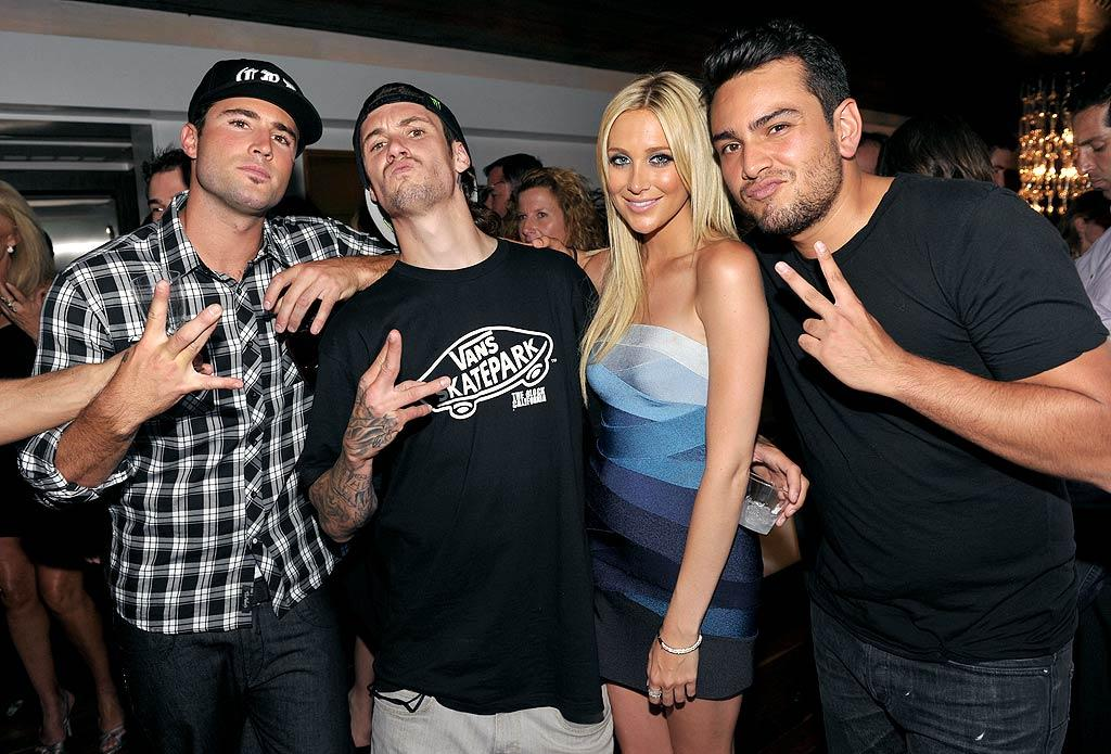 "Stephanie Pratt, in a blue strapless Herve Leger dress, joined the guys -- Brody Jenner, her new BF Josh Hansen, and Frankie Delgado -- for a party pic. John Shearer/<a href=""http://www.gettyimages.com/"" target=""new"">GettyImages.com</a> - July 13, 2010"
