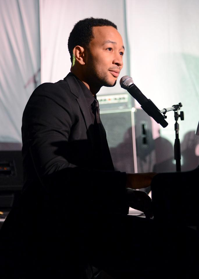 LOS ANGELES, CA - JANUARY 12:  Singer John Legend performs at The Art of Elysium's 6th Annual HEAVEN Gala After Party presented by Audi at 2nd Street Tunnel on January 12, 2013 in Los Angeles, California.  (Photo by Jason Merritt/Getty Images for Art of Elysium)