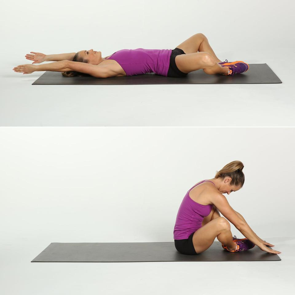 <ul> <li>Lie on your back, and open your legs into a diamond shape (aka butterfly legs) with the soles of your feet pressed together and knees out wide. Extend the arms overhead.</li> <li>Inhale to curl the torso up, and tap the floor in front of your feet to stretch your glutes a bit.</li> <li>Slowly lower back to the starting position.</li> <li>This counts as one rep.</li> </ul>