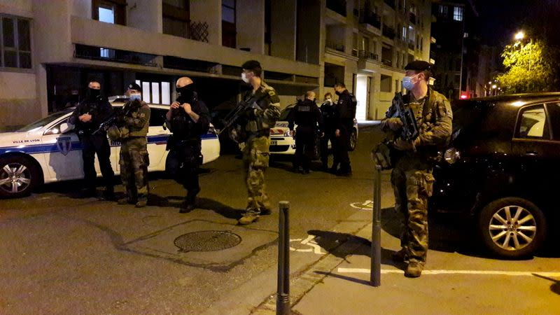 Police secures a street in Lyon
