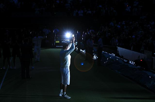 Centre Court was submerged in darkness by the end. (Adam Davy/PA Images via Getty)