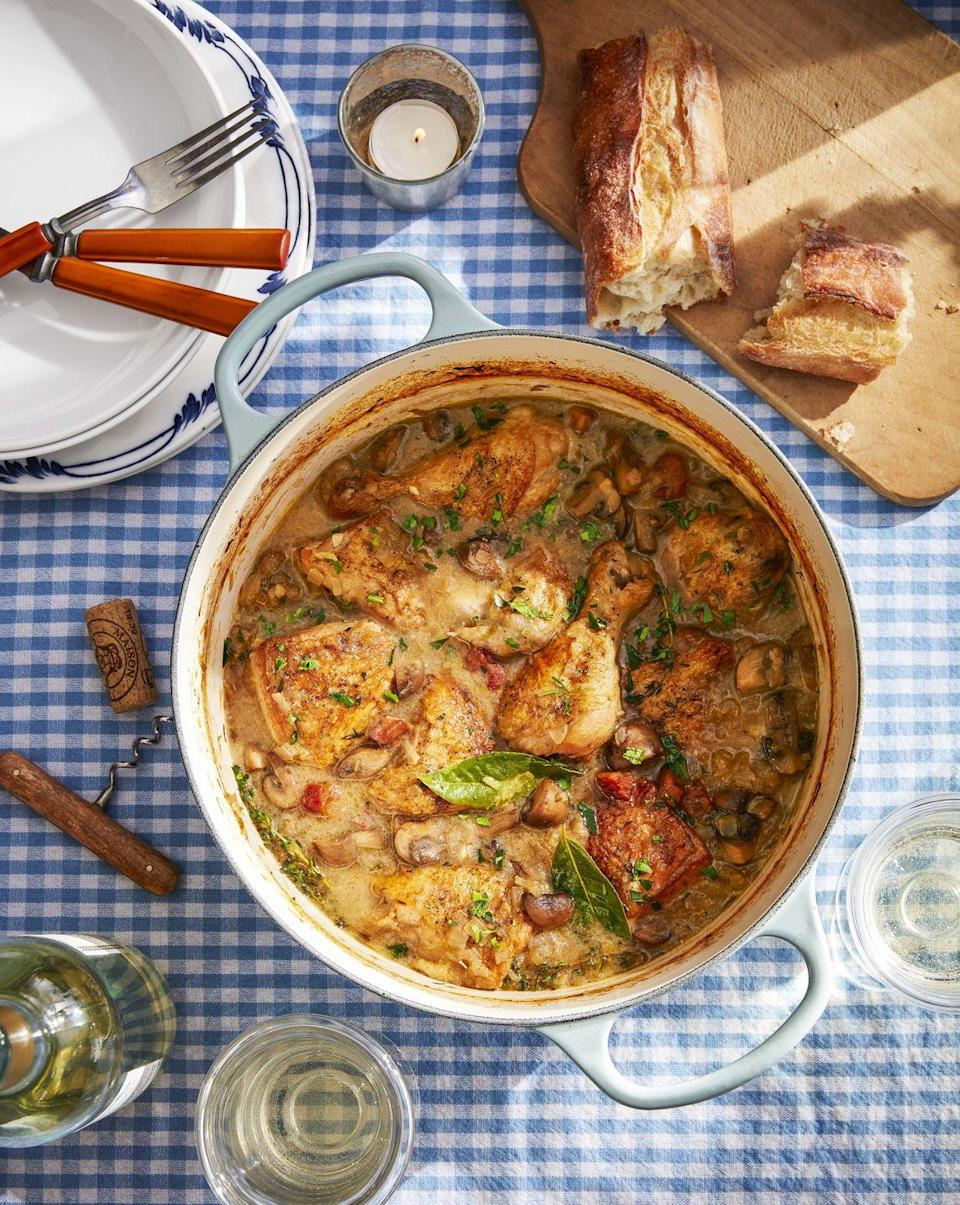 """<p>As this rich stew simmers it will make the whole house smell amazing. Serve it with a good crusty baguette.</p><p><strong><a href=""""https://www.countryliving.com/food-drinks/a32042812/white-wine-coq-au-vin/"""" rel=""""nofollow noopener"""" target=""""_blank"""" data-ylk=""""slk:Get the recipe"""" class=""""link rapid-noclick-resp"""">Get the recipe</a>.</strong></p><p><a class=""""link rapid-noclick-resp"""" href=""""https://www.amazon.com/AmazonBasics-Enameled-Cast-Iron-Dutch/dp/B07Y6TPSGS/?tag=syn-yahoo-20&ascsubtag=%5Bartid%7C10050.g.1115%5Bsrc%7Cyahoo-us"""" rel=""""nofollow noopener"""" target=""""_blank"""" data-ylk=""""slk:SHOP DUTCH OVENS"""">SHOP DUTCH OVENS</a><br></p>"""