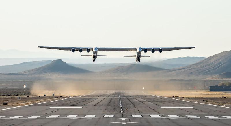 The Stratolaunch is designed to carry into space, and drop, a rocket that would in turn ignite to deploy satellites (AFP Photo/Handout)
