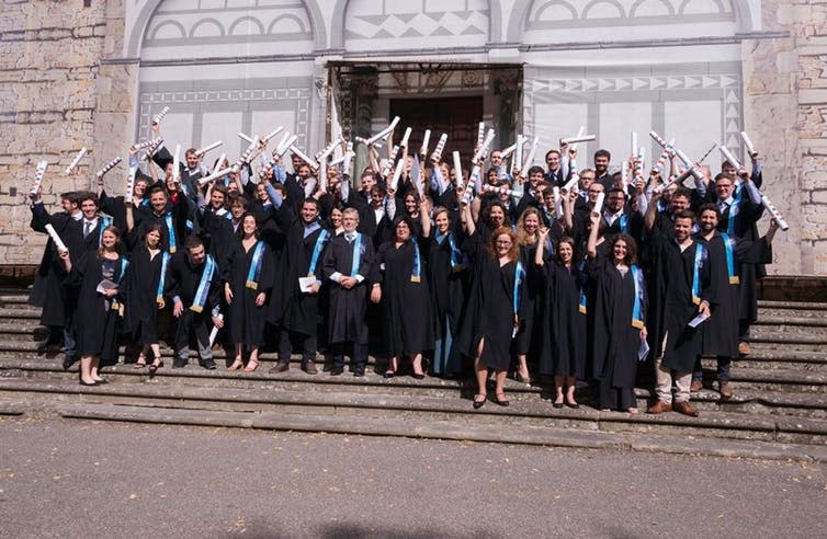 """<span>Students collect their doctorates at the European University Institute.</span><span><a class=""""link rapid-noclick-resp"""" href=""""https://www.facebook.com/EuropeanUniversityInstitute/photos/a.436064668570/10156422989963571/?type=3&theater"""" rel=""""nofollow noopener"""" target=""""_blank"""" data-ylk=""""slk:European University Institute/Facebook"""">European University Institute/Facebook</a></span>"""