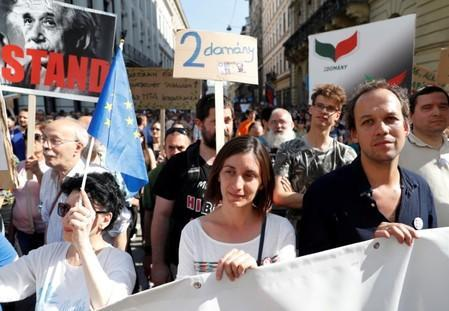 Protest against government's plans to overhaul the Hungarian Academy of Sciences in Budapest
