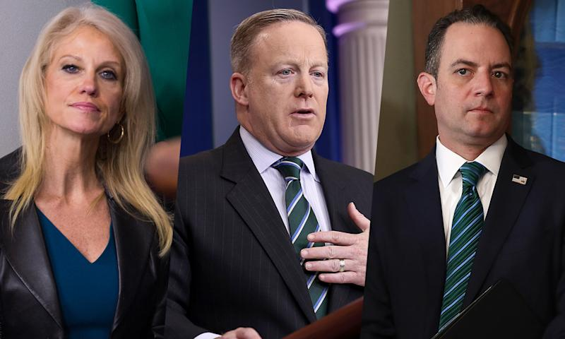 Kellyanne Conway, Sean Spicer and Reince Priebus. (Photos: Cheriss May, Win McNamee (2) /Getty Images)