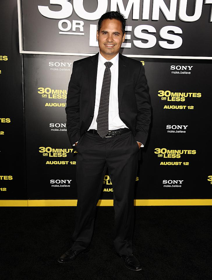 """<a href=""""http://movies.yahoo.com/movie/contributor/1800213841"""">Michael Pena</a> at the Los Angeles premiere of <a href=""""http://movies.yahoo.com/movie/1810160427/info"""">30 Minutes or Less</a> on August 8, 2011."""